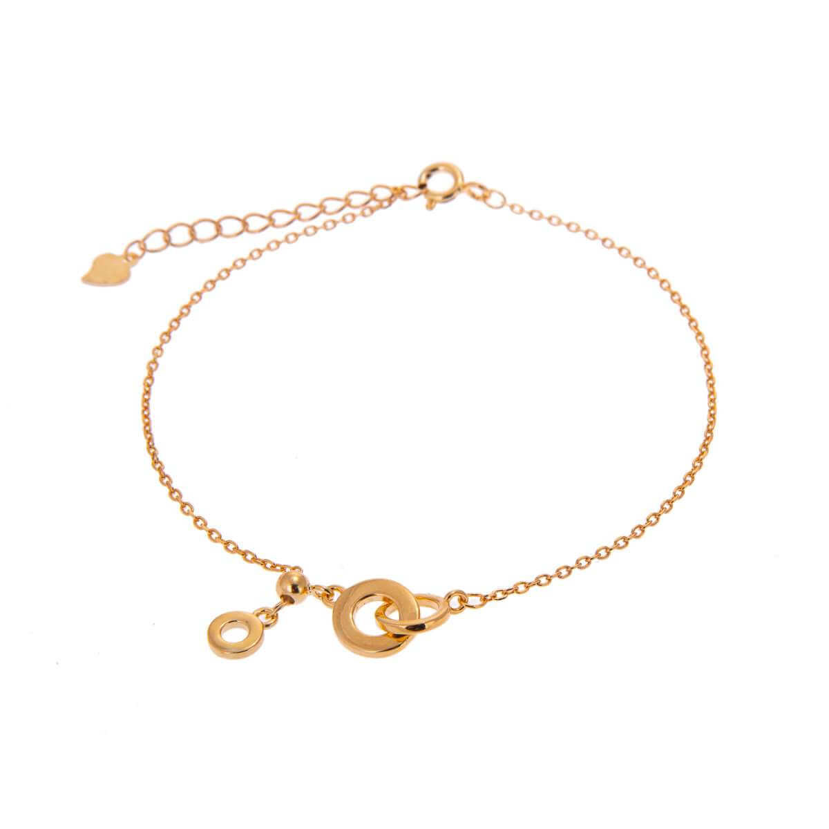 Gold Plated Sterling Silver Interlocking Karma Circles Adjustable Bracelet