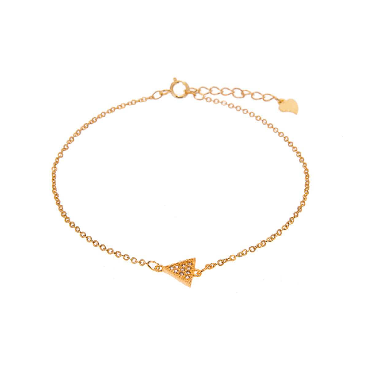 Yellow Gold Plated Sterling Silver Triangle Clear CZ Pave Adjustable Bracelet