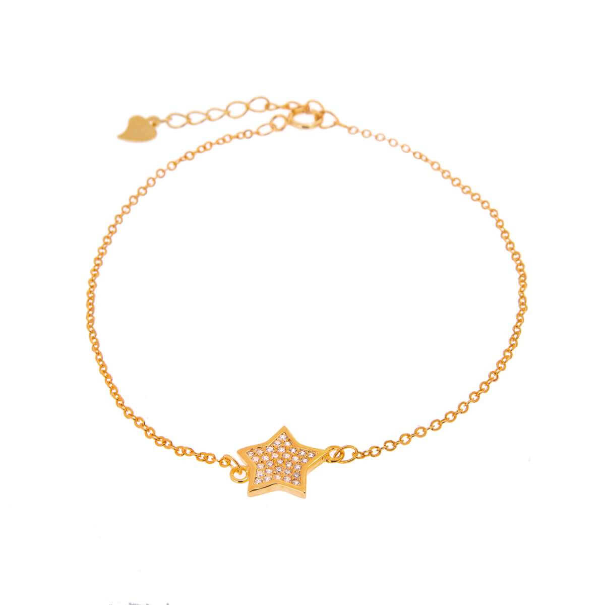 Yellow Gold Plated Sterling Silver Star Clear CZ Pave Adjustable Bracelet
