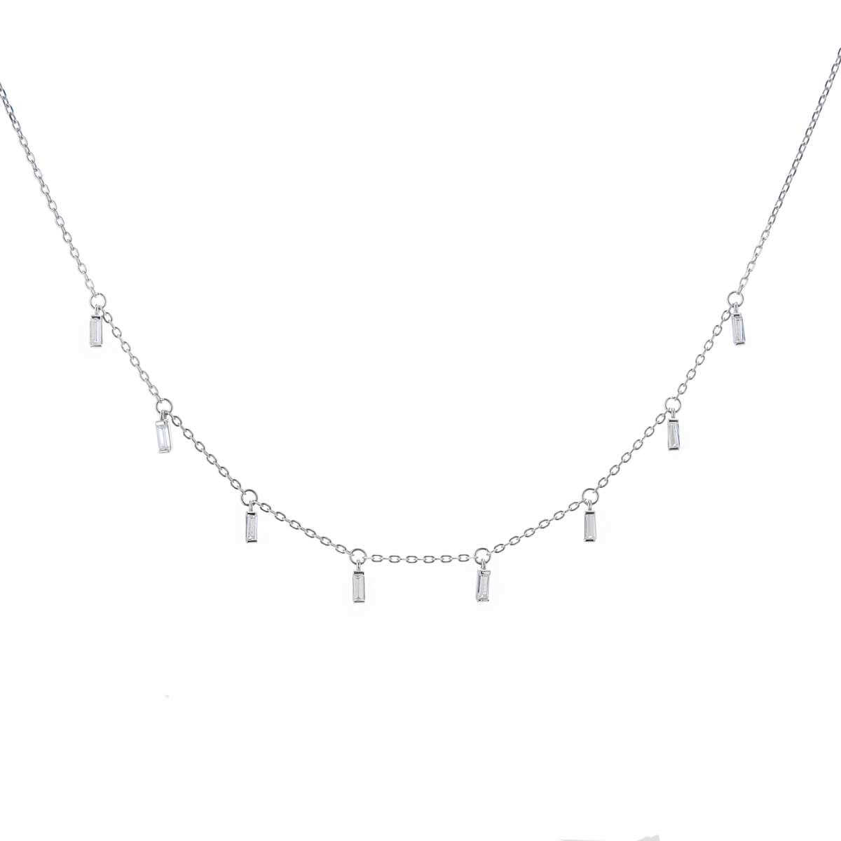 Sterling Silver Multi Tiny Baguette CZ Drop Necklace