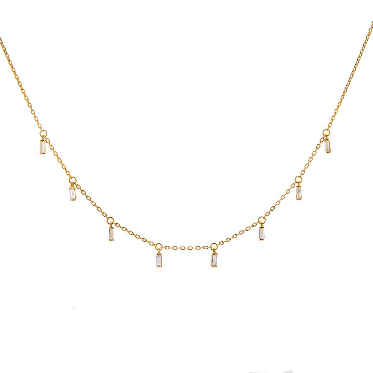 Yellow Gold Plated Sterling Silver Multi Tiny Clear Baguette CZ Drop Necklace