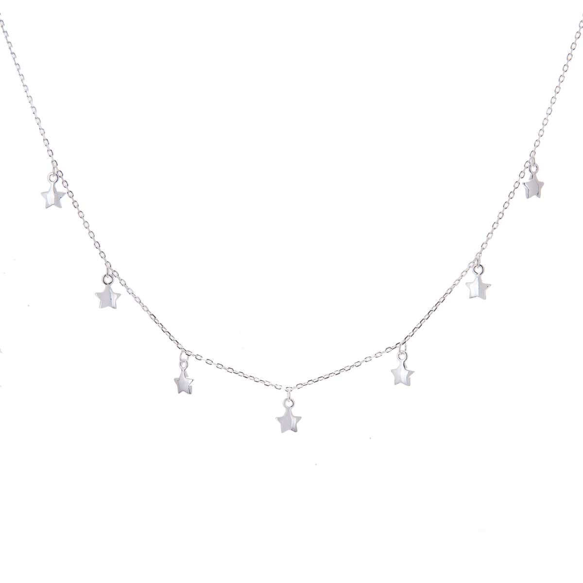Sterling Silver Multi Star Drop Necklace