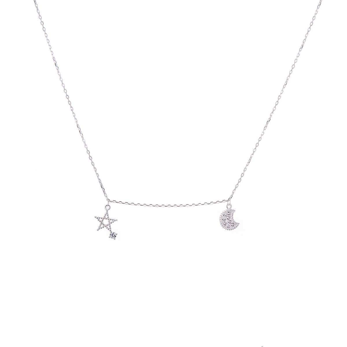 Sterling Silver Star & Moon Clear CZ Necklace