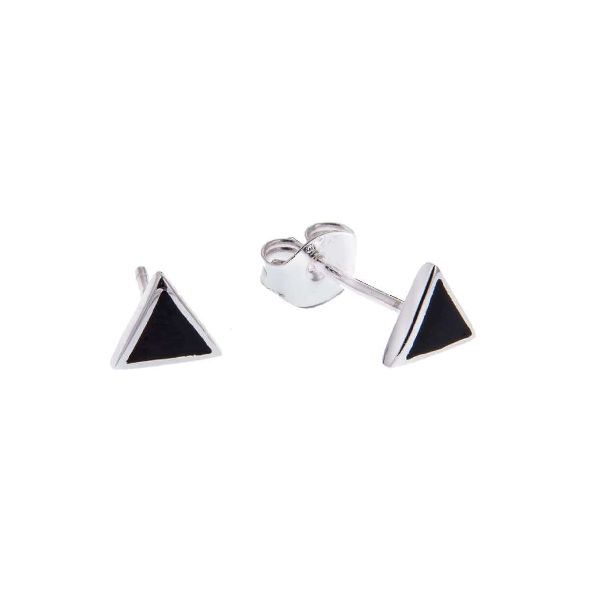 Sterling Silver Triangle Black Enamel Minimalist Stud Earrings