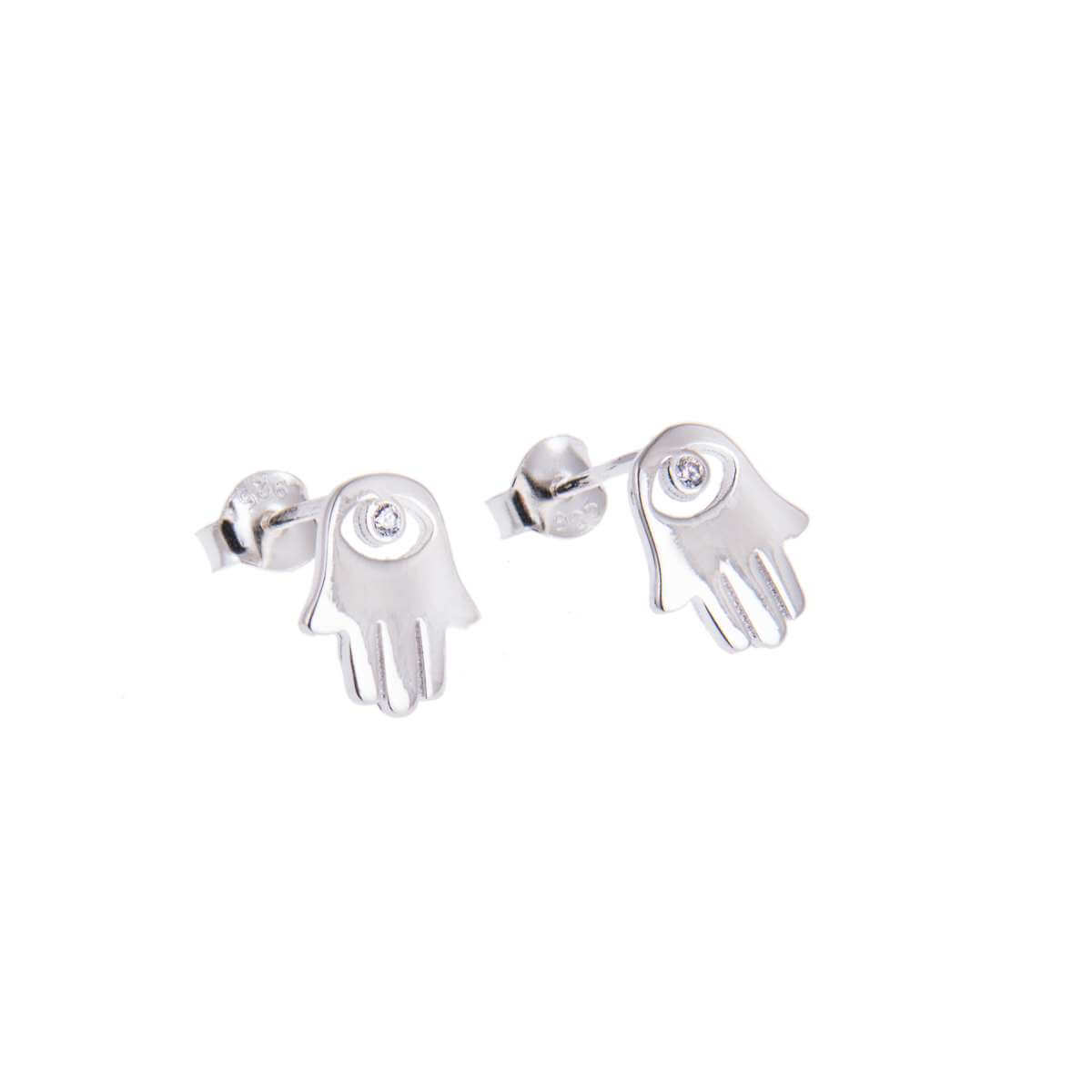 Sterling Silver Hamsa Hand Clear CZ Eye Stud Earrings