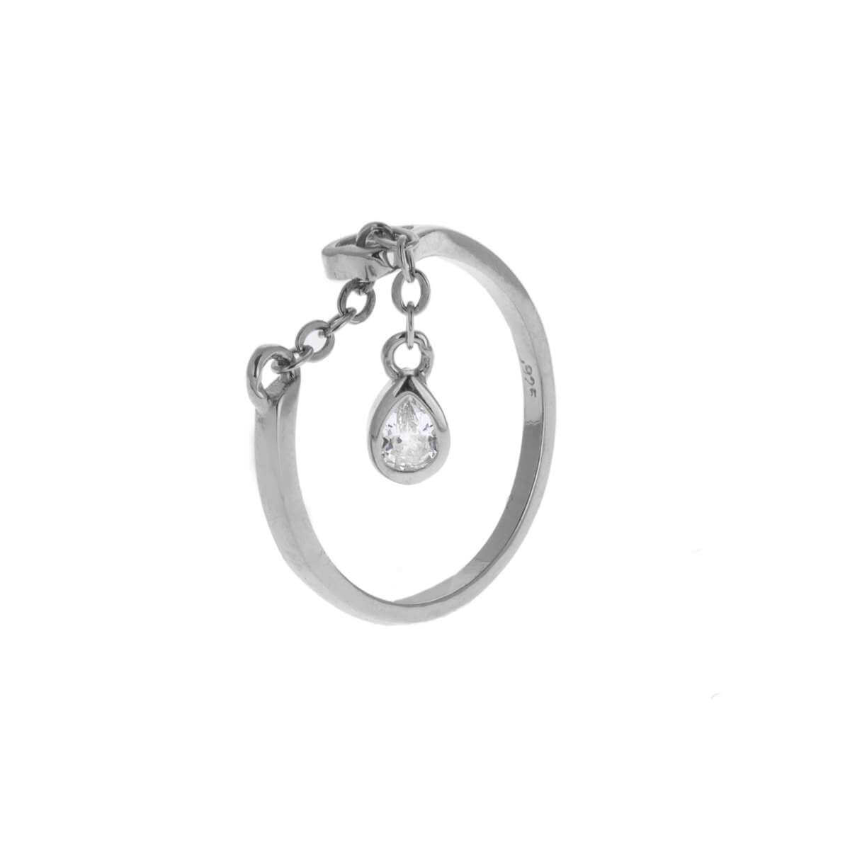 Sterling Silver Teardrop Clear CZ Chain Drop Dangle Adjustable Ring