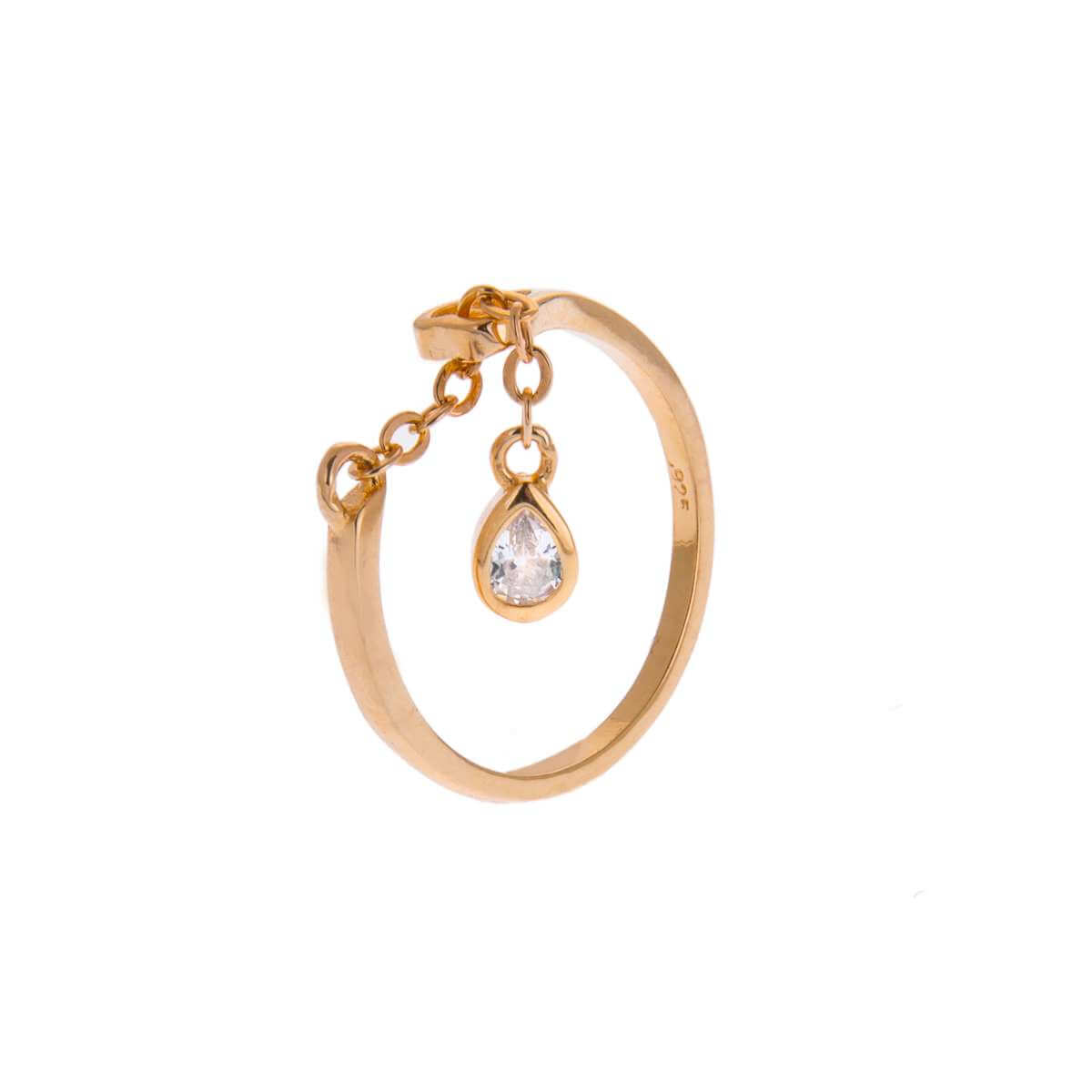 Yellow Gold Plated Sterling Silver Teardrop Clear CZ Chain Drop Dangle Adjustable Ring