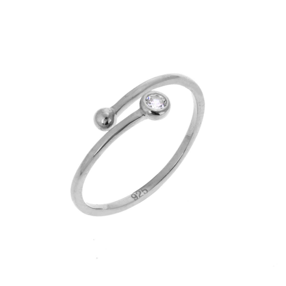 Sterling Silver Round Clear CZ & Ball Minimalist Open Adjustable Ring