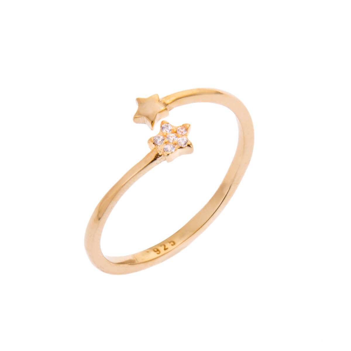Yellow Gold Plated Sterling Silver Tiny Star Clear CZ Pave Open Adjustable Ring