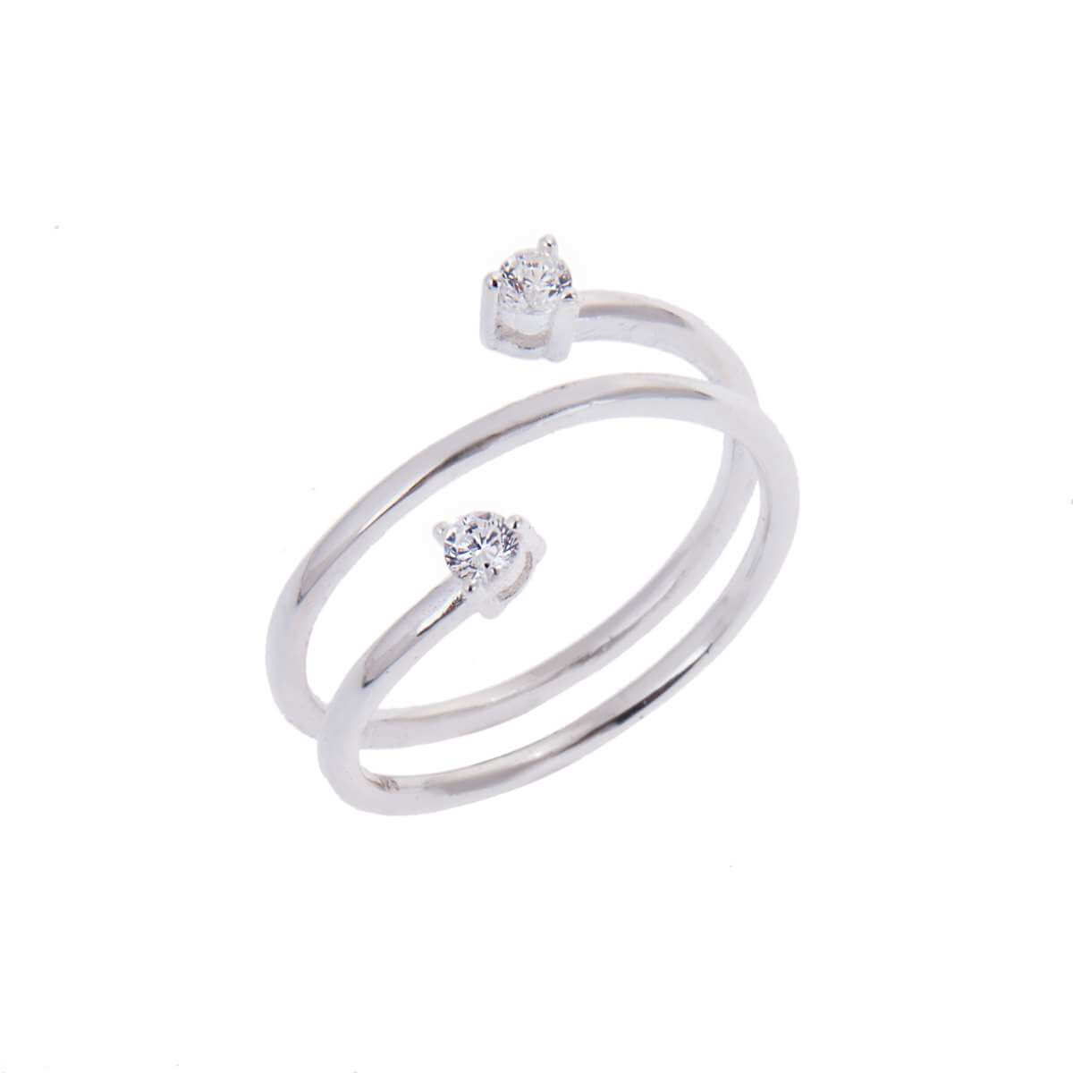 Sterling Silver Double Round Clear CZ Open Wrap Adjustable Ring