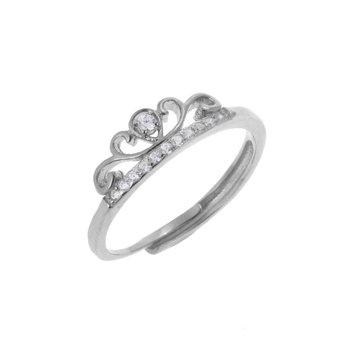 Sterling Silver Tiara Crown Clear CZ Adjustable Ring