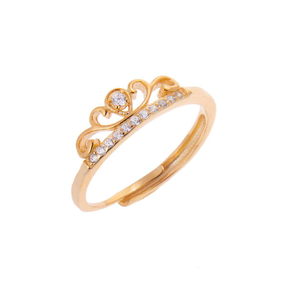 Yellow Gold Plated Sterling Silver Tiara Crown Clear CZ Adjustable Ring