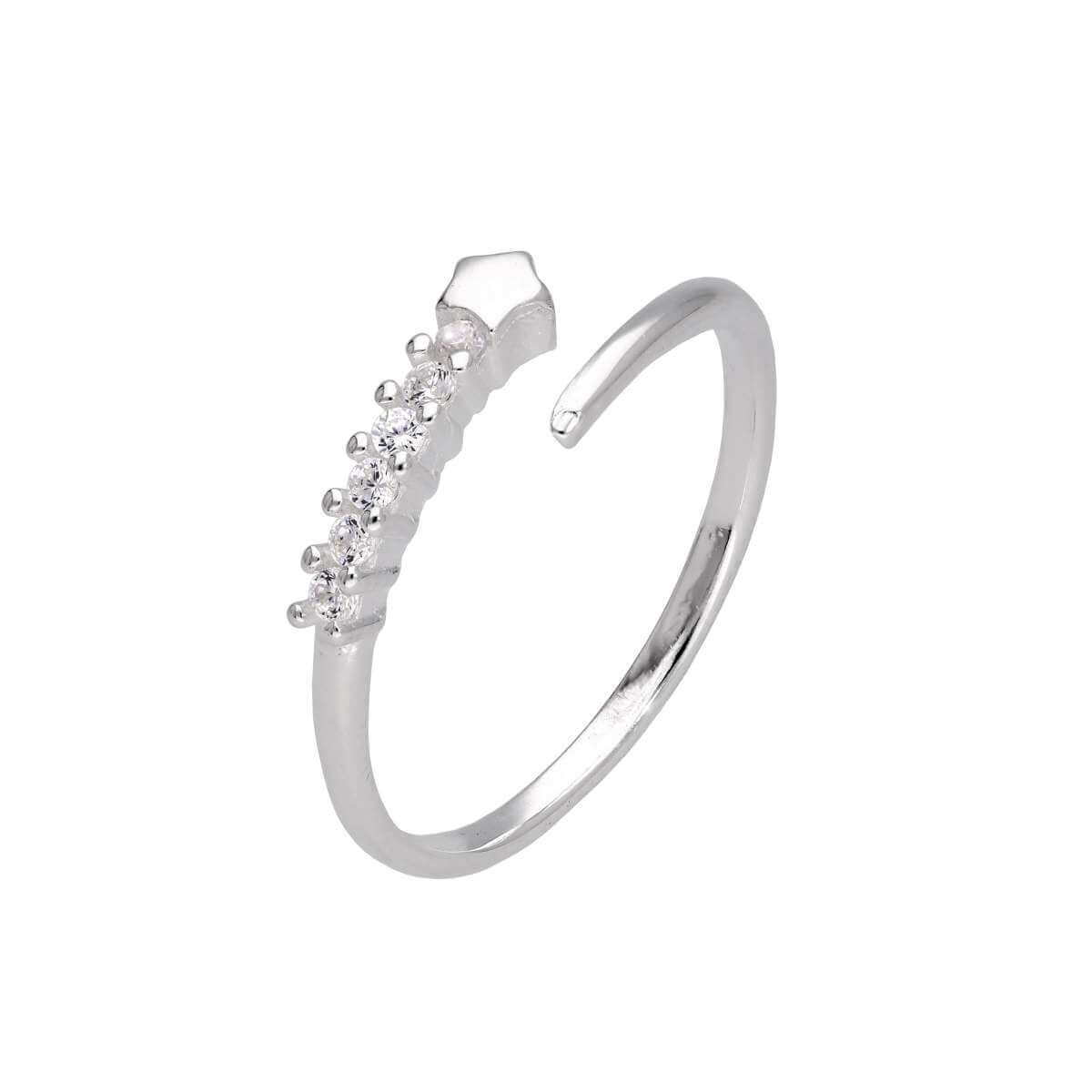 Sterling Silver Shooting Star Clear CZ Open Adjustable Ring