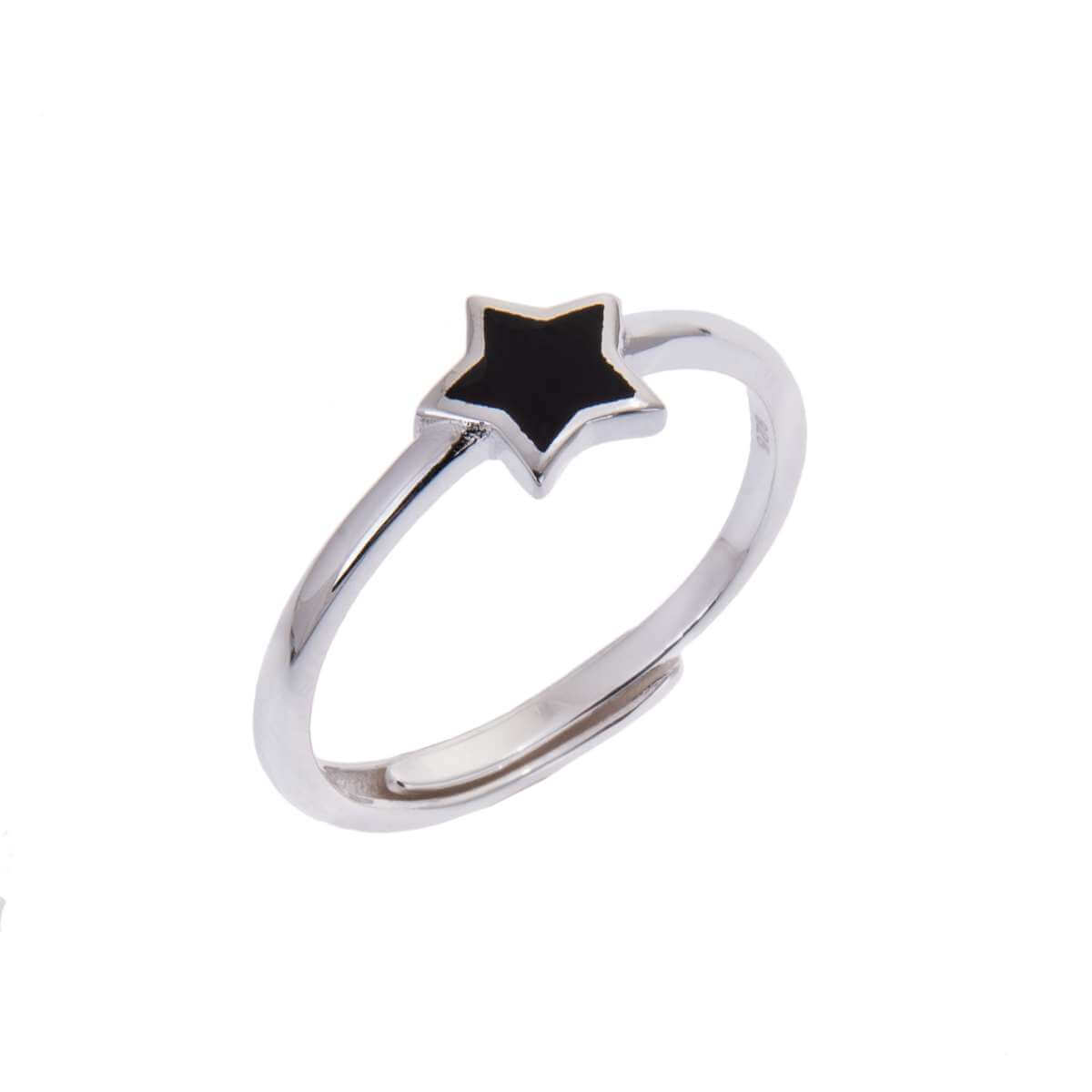 Sterling Silver Star Black Enamel Adjustable Ring