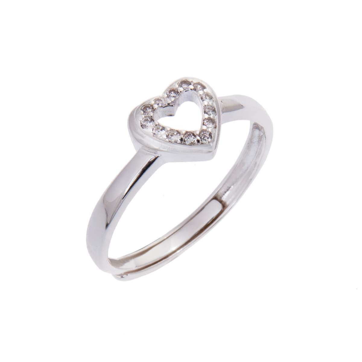 Sterling Silver Open Heart Clear CZ Adjustable Ring