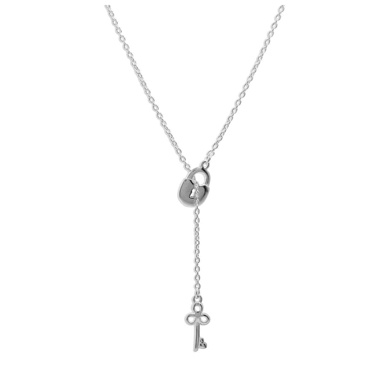 Sterling Silver Key Padlock Drop Necklace