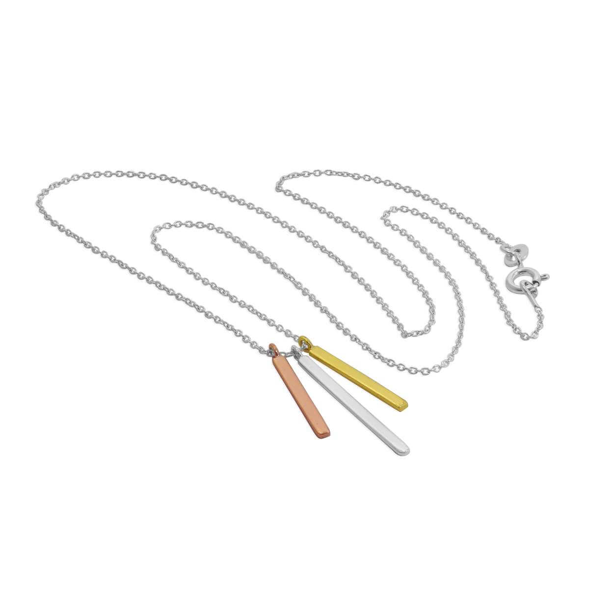 Sterling Silver Triple Mixed Gold Plated Bar Necklace