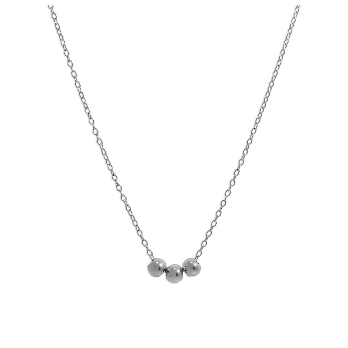Sterling Silver Triple Sliding Ball Necklace - 18 Inches