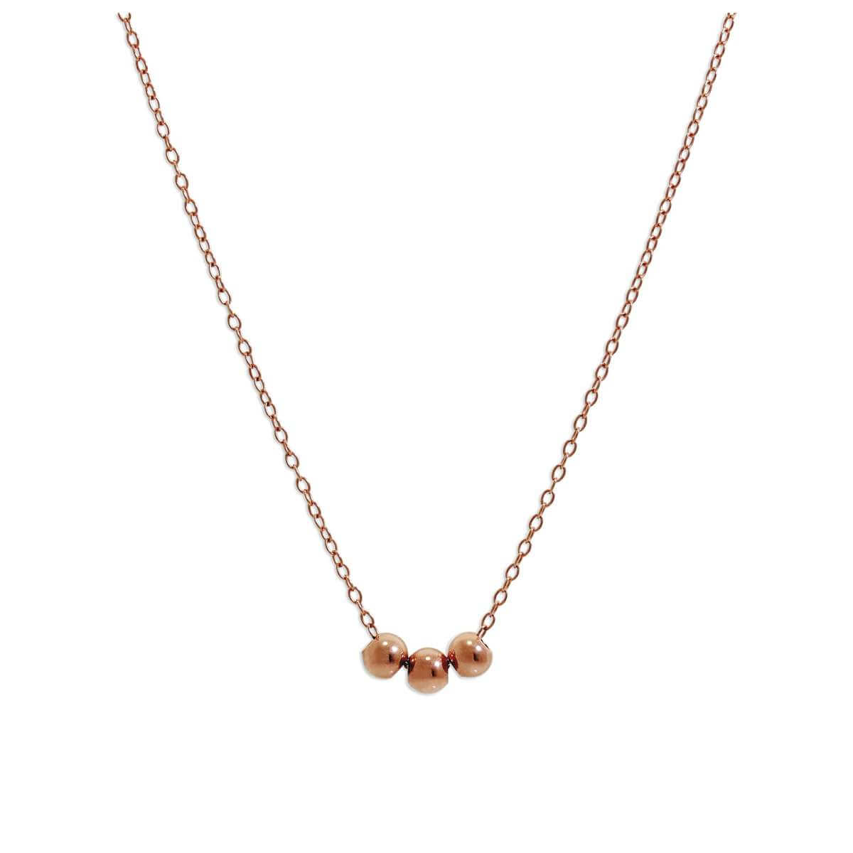 Rose Gold Plated Sterling Silver Triple Sliding Ball Necklace - 18 Inches