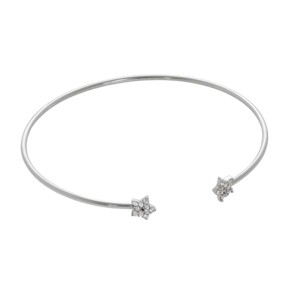 Sterling Silver Star Clear CZ Pave Open Cuff Bangle