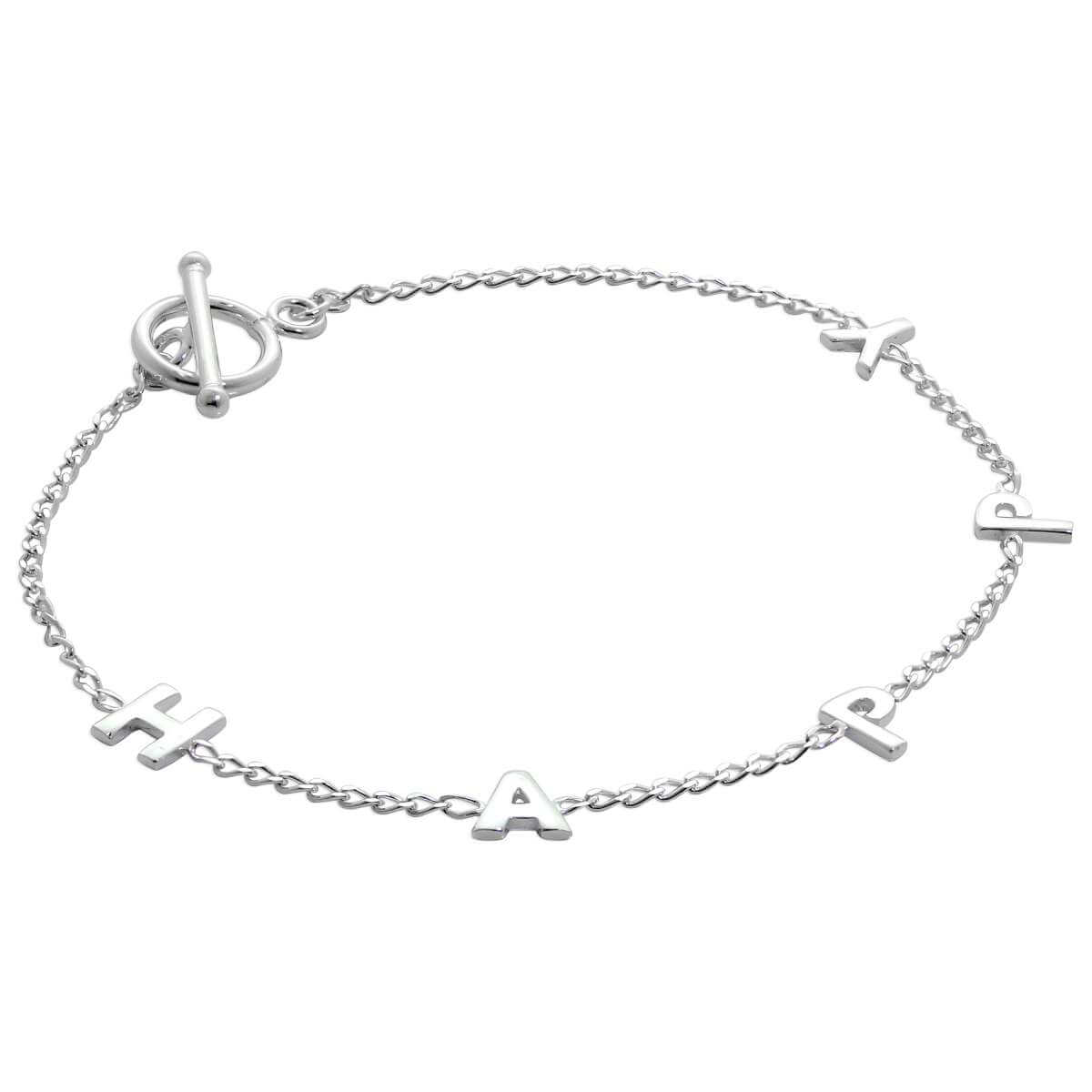 Sterling Silver HAPPY 7 Inch Bracelet