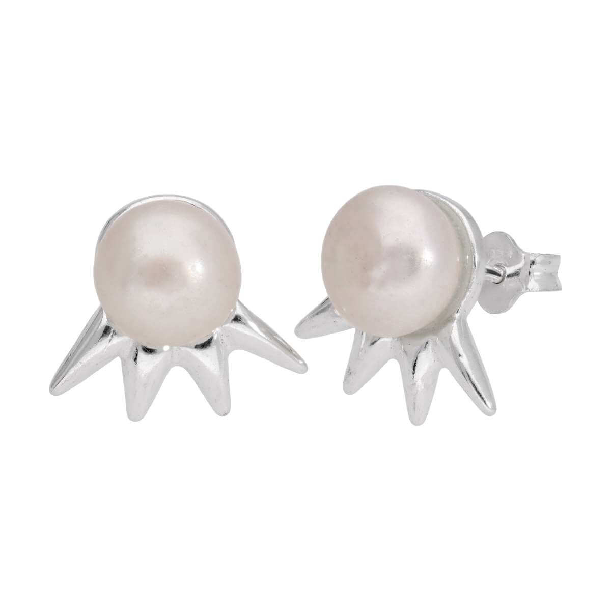 Sterling Silver Spike Freshwater Pearl Stud Earrings