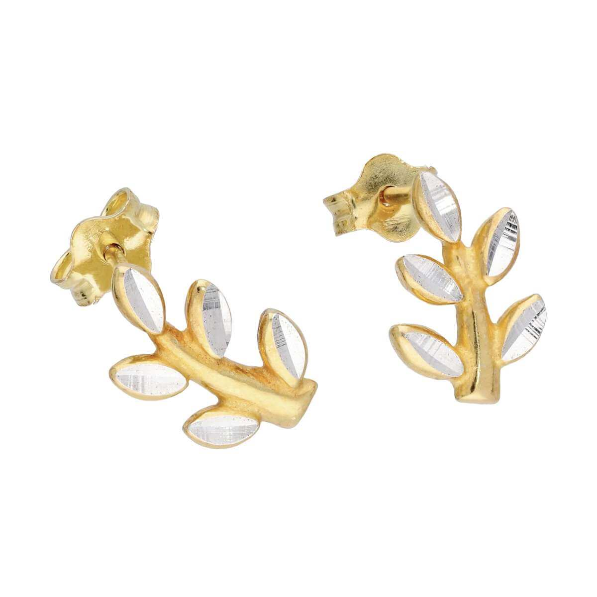 Gold Plated Sterling Silver Diamond Cut Leaf & Branch Stud Earrings