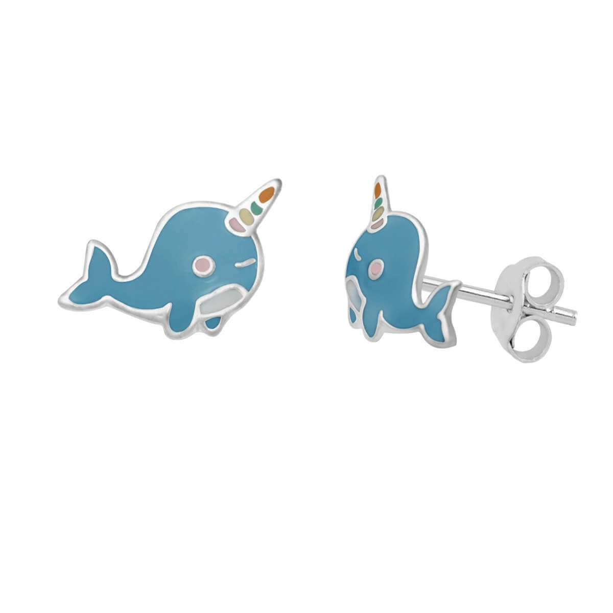 Sterling Silver Narwhal Enamel Stud Earrings