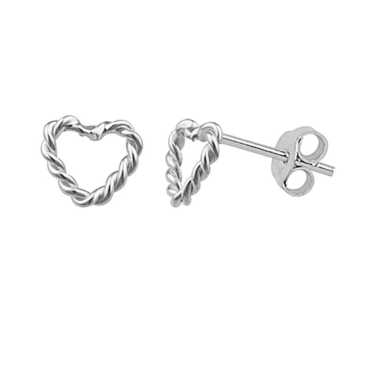 Sterling Silver Tiny Twisted Open Heart Stud Earrings
