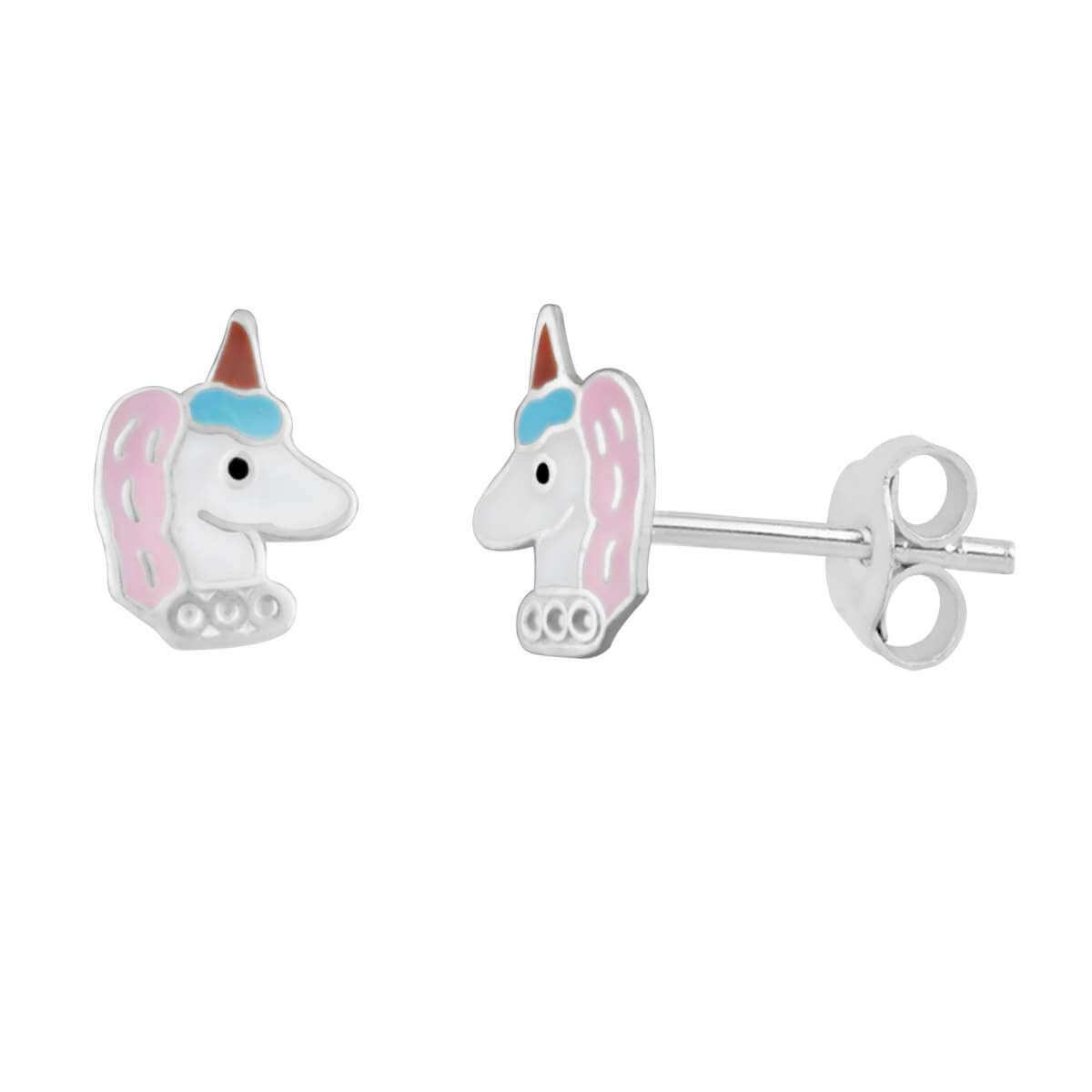 Sterling Silver Unicorn Party Hat Enamel Stud Earrings