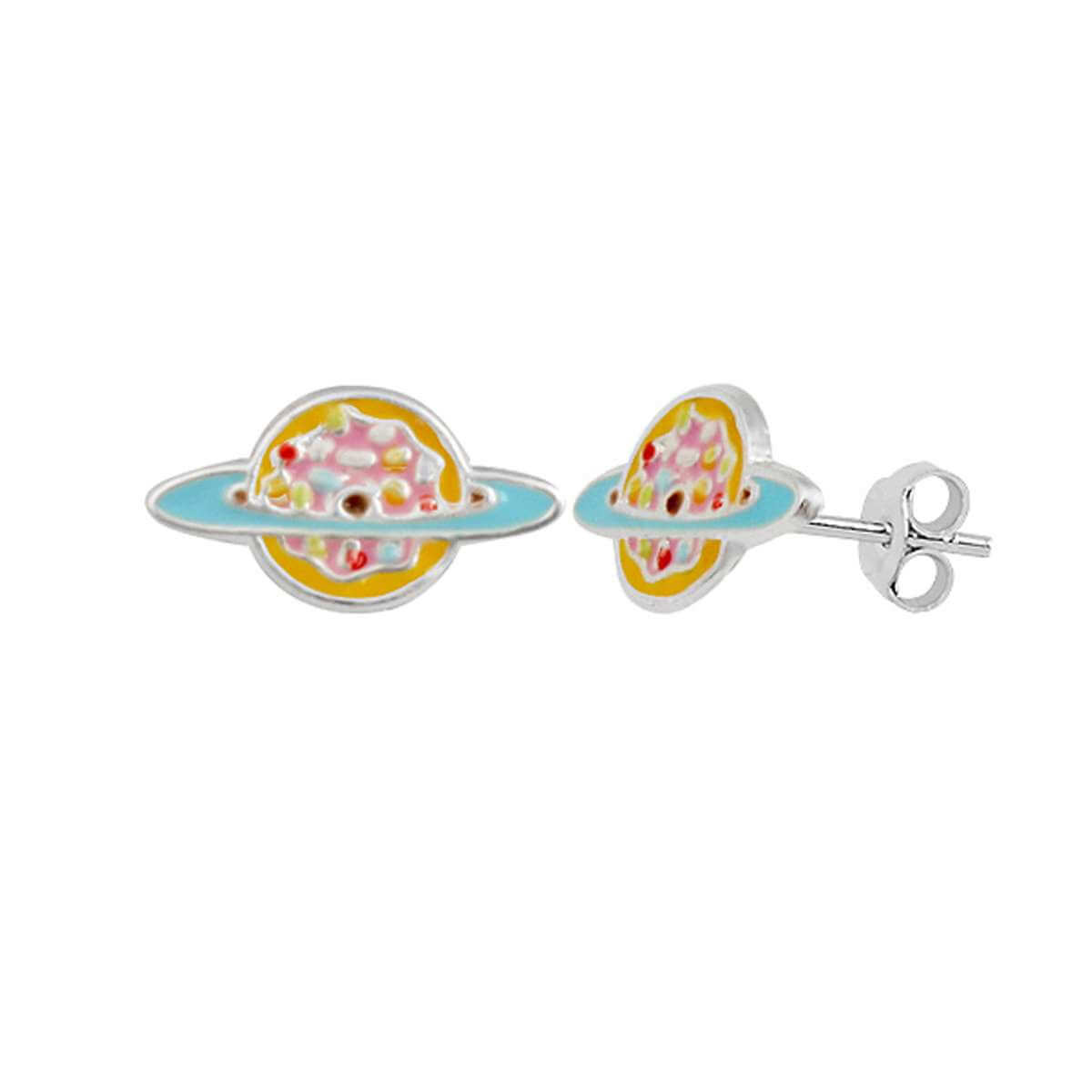 Sterling Silver Saturn Planet Rainbow Colour Enamel Stud Earrings