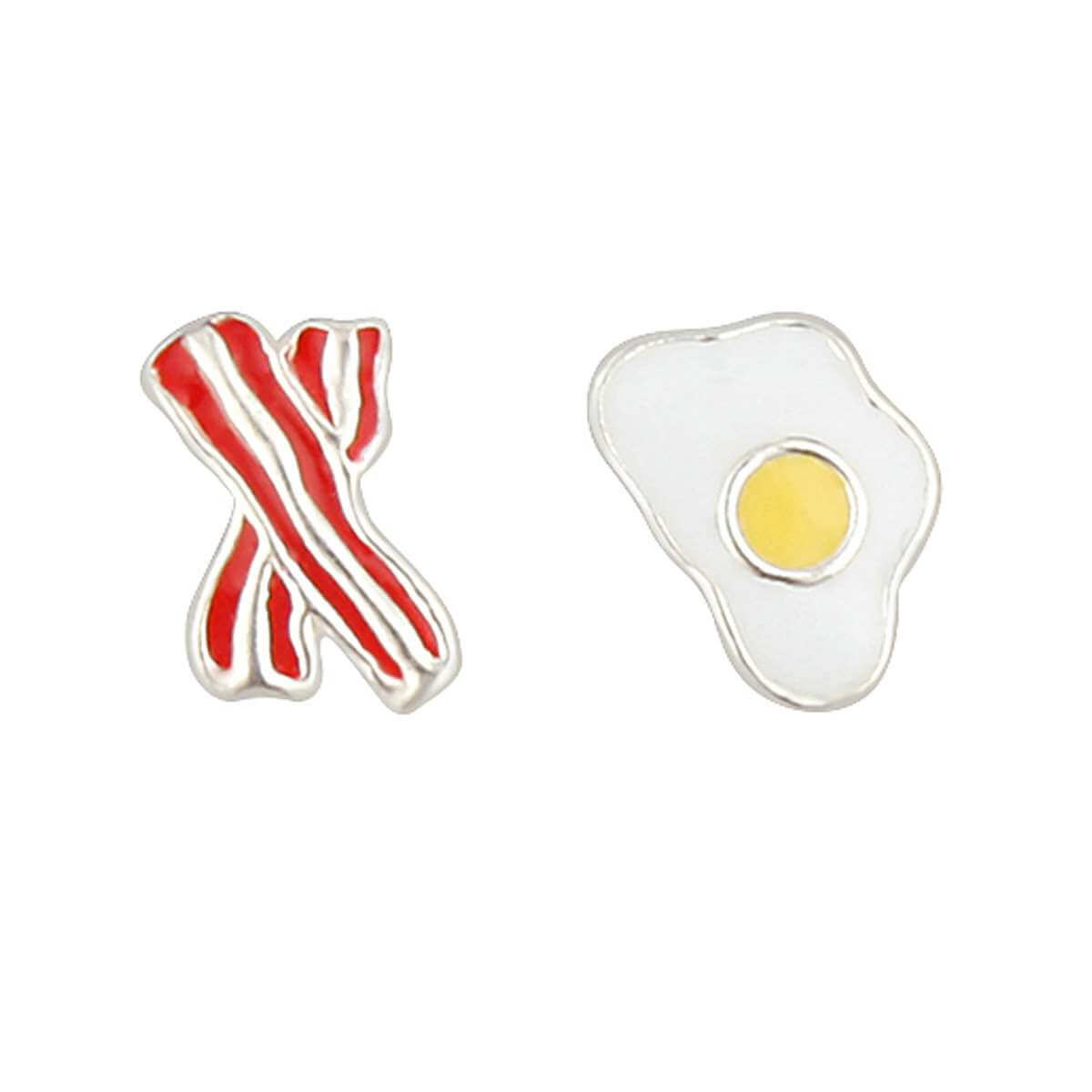 Sterling Silver Mix & Match Bacon Egg Enamel Stud Earrings