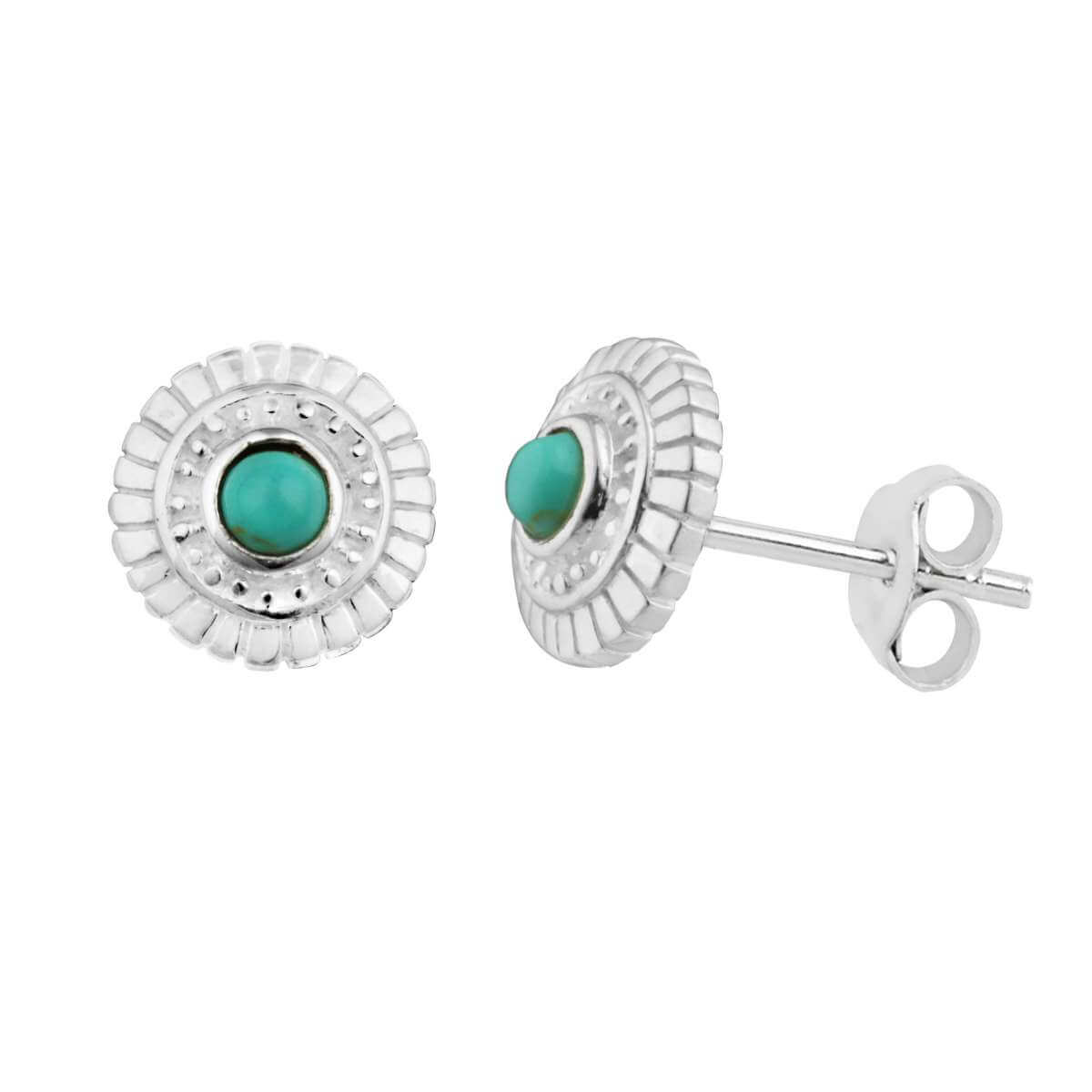 Sterling Silver & Faux Turquoise Round Stud Earrings