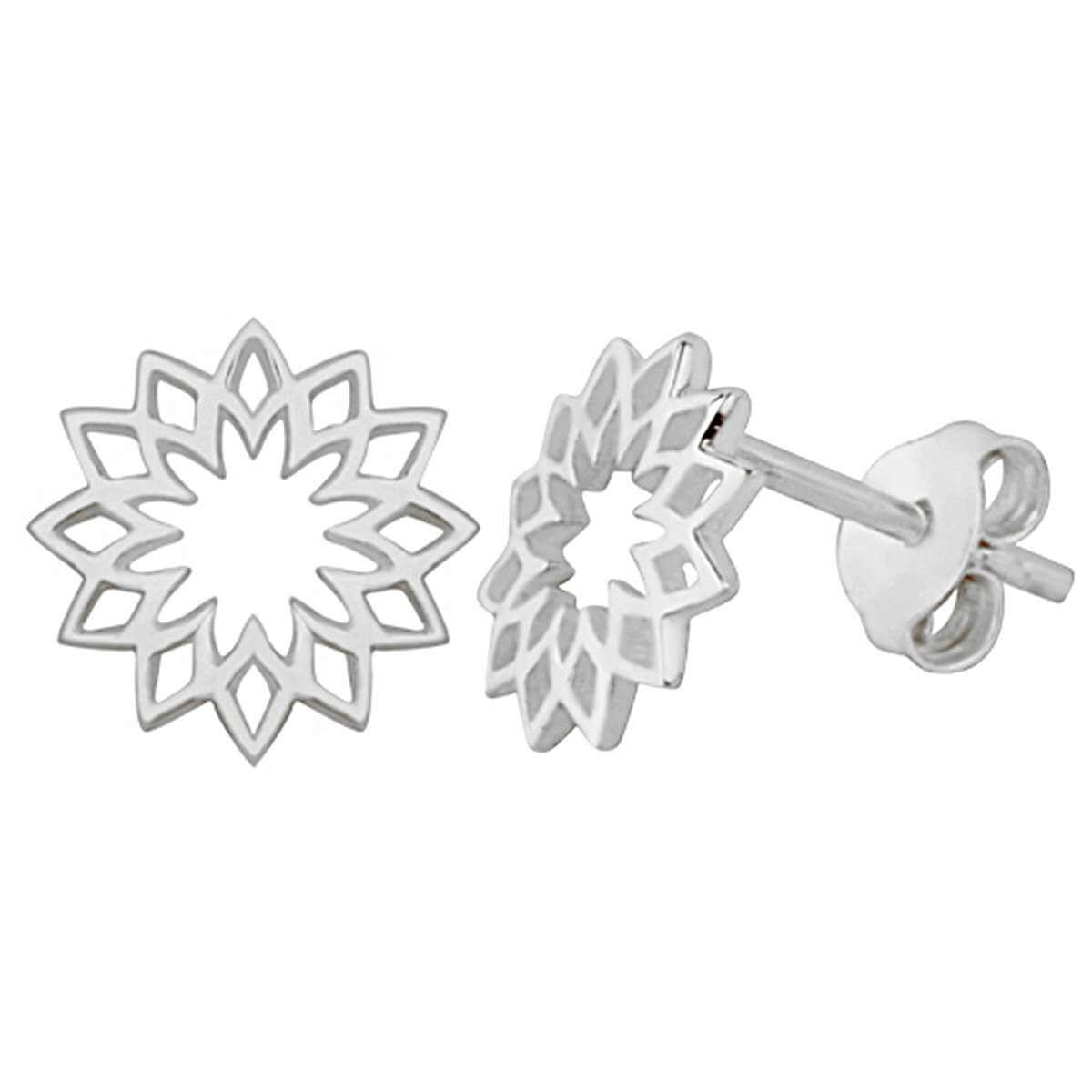 Sterling Silver Sun Chakra Flower Stud Earrings