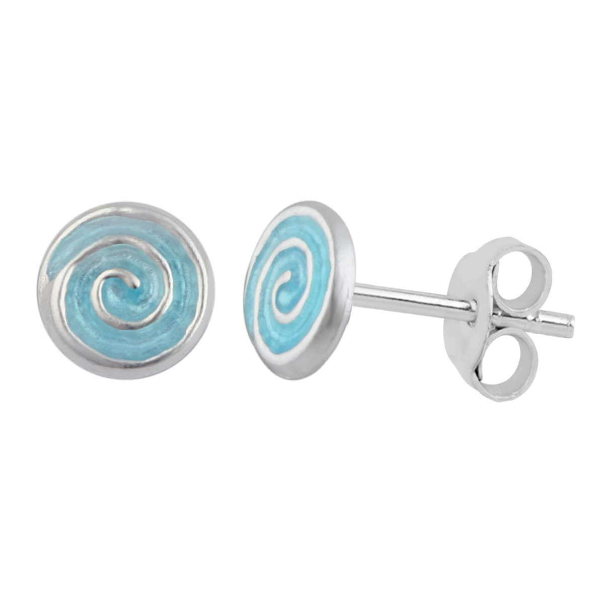 Sterling Silver Spiral Aqua Blue Turquoise Enamel Stud Earrings