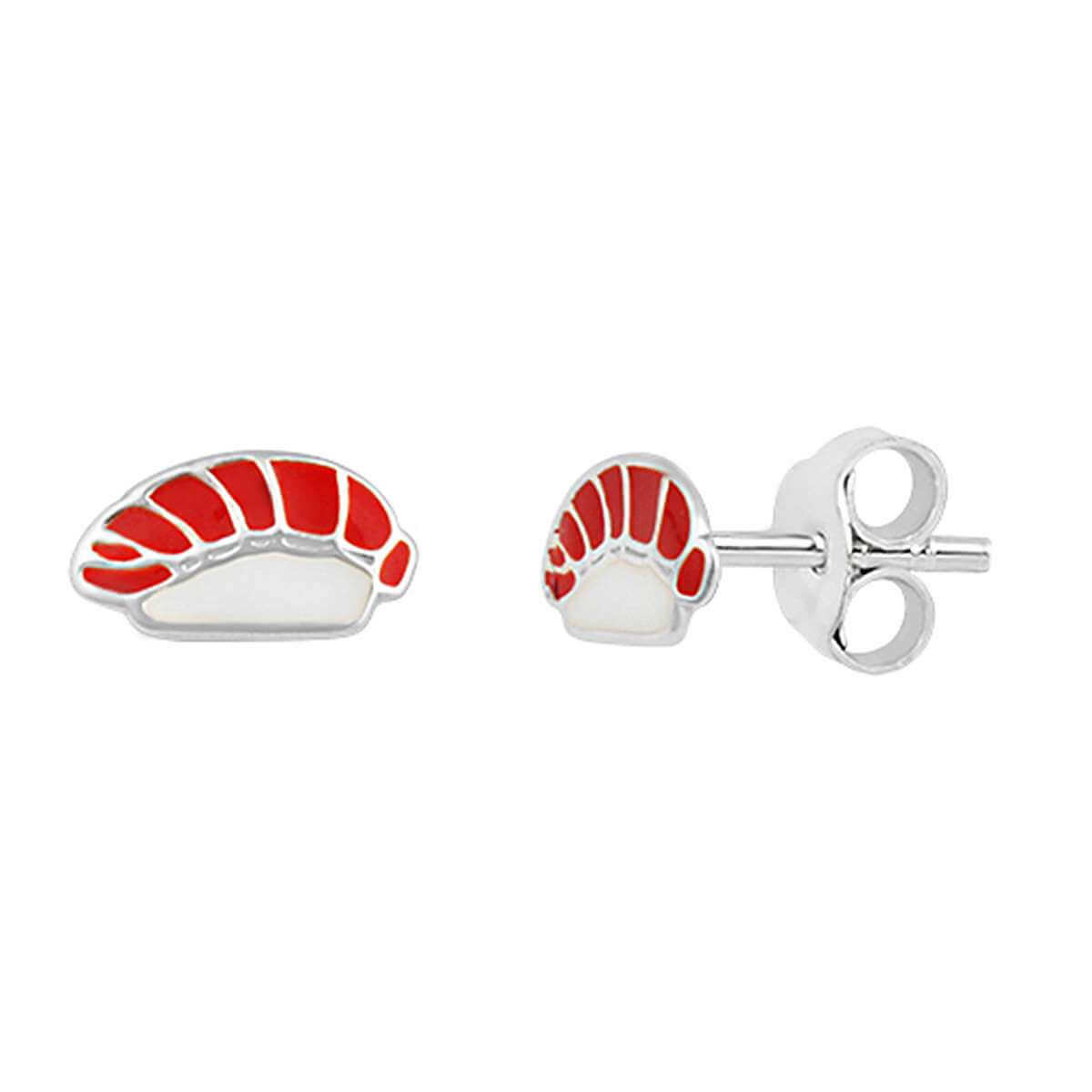 Sterling Silver Tuna Sushi Enamel Stud Earrings