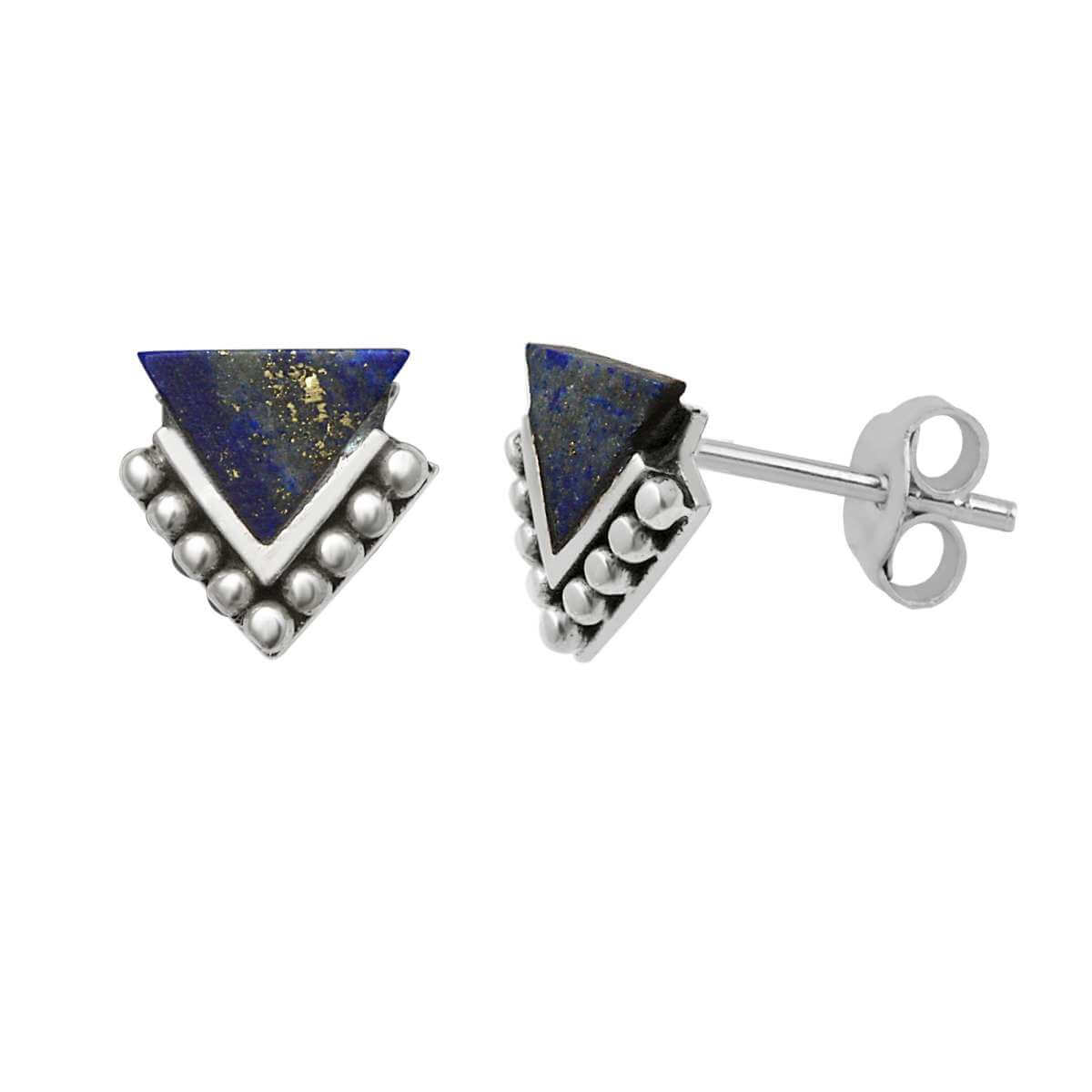 Sterling Silver & Faux Lapis Beaded Triangle Stud Earrings