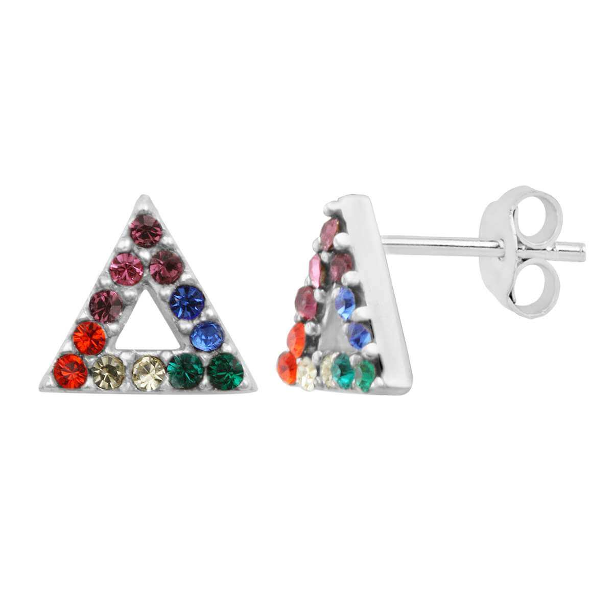 Sterling Silver Rainbow Crystal Triangle Stud Earrings