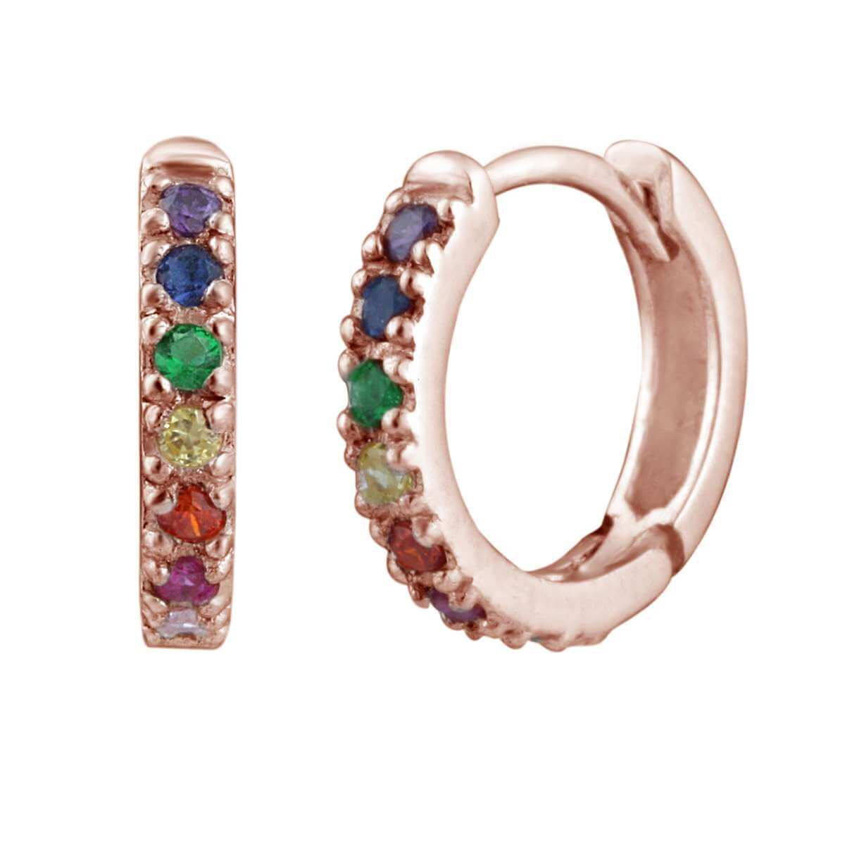 Rose Gold Dipped Sterling Silver & Rainbow Crystal Huggie Hoop Earrings