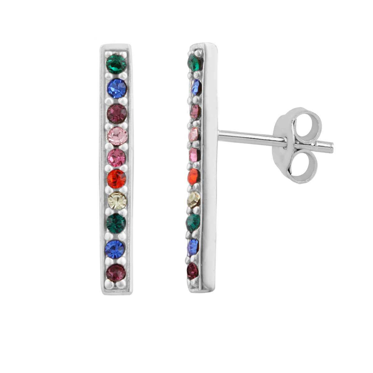 Sterling Silver & Rainbow CZ Crystal Bar Stud Earrings
