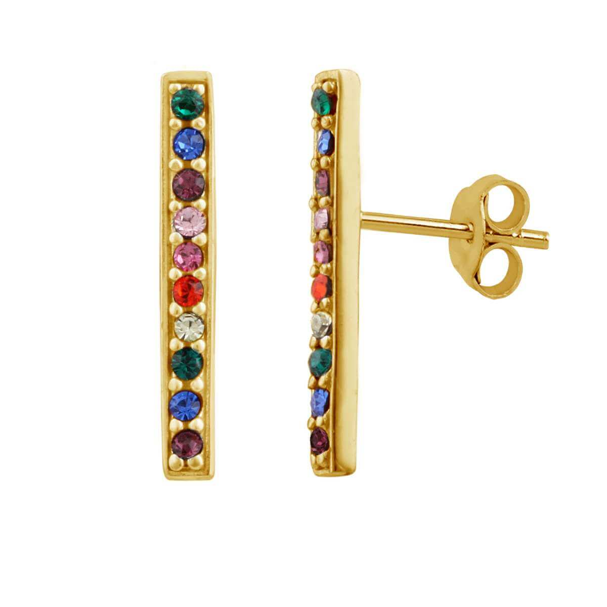 Gold Plated Sterling Silver Rainbow cz crystal bar stud earrings