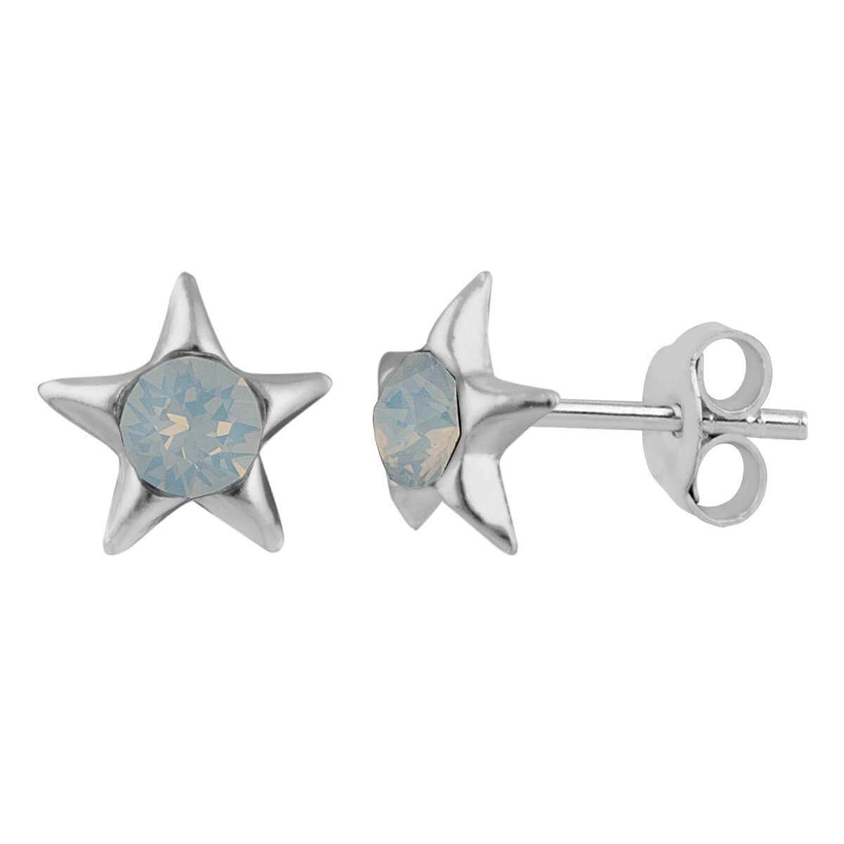 Sterling Silver & White Faux Opal Star Stud Earrings