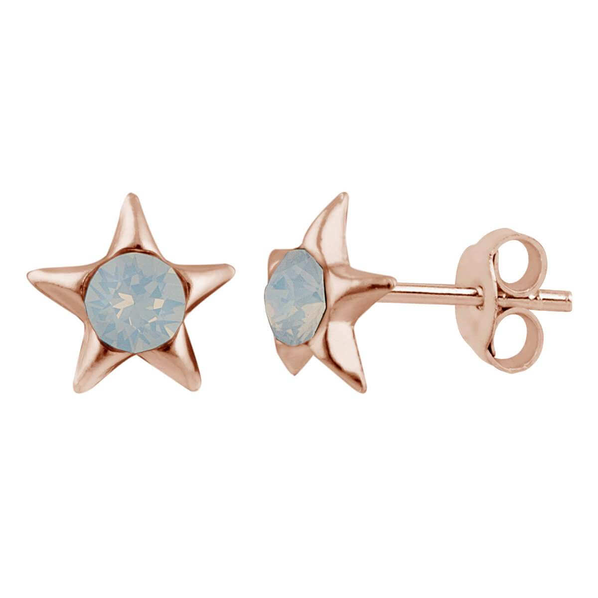 Rose Gold Plated Sterling Silver & White Faux Opal Star Stud Earrings