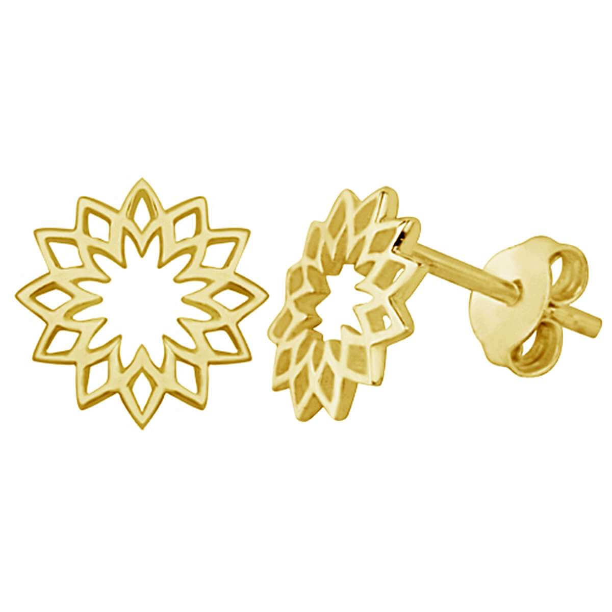 Yellow Gold Plated Sterling Silver Sun Chakra Flower Stud Earrings
