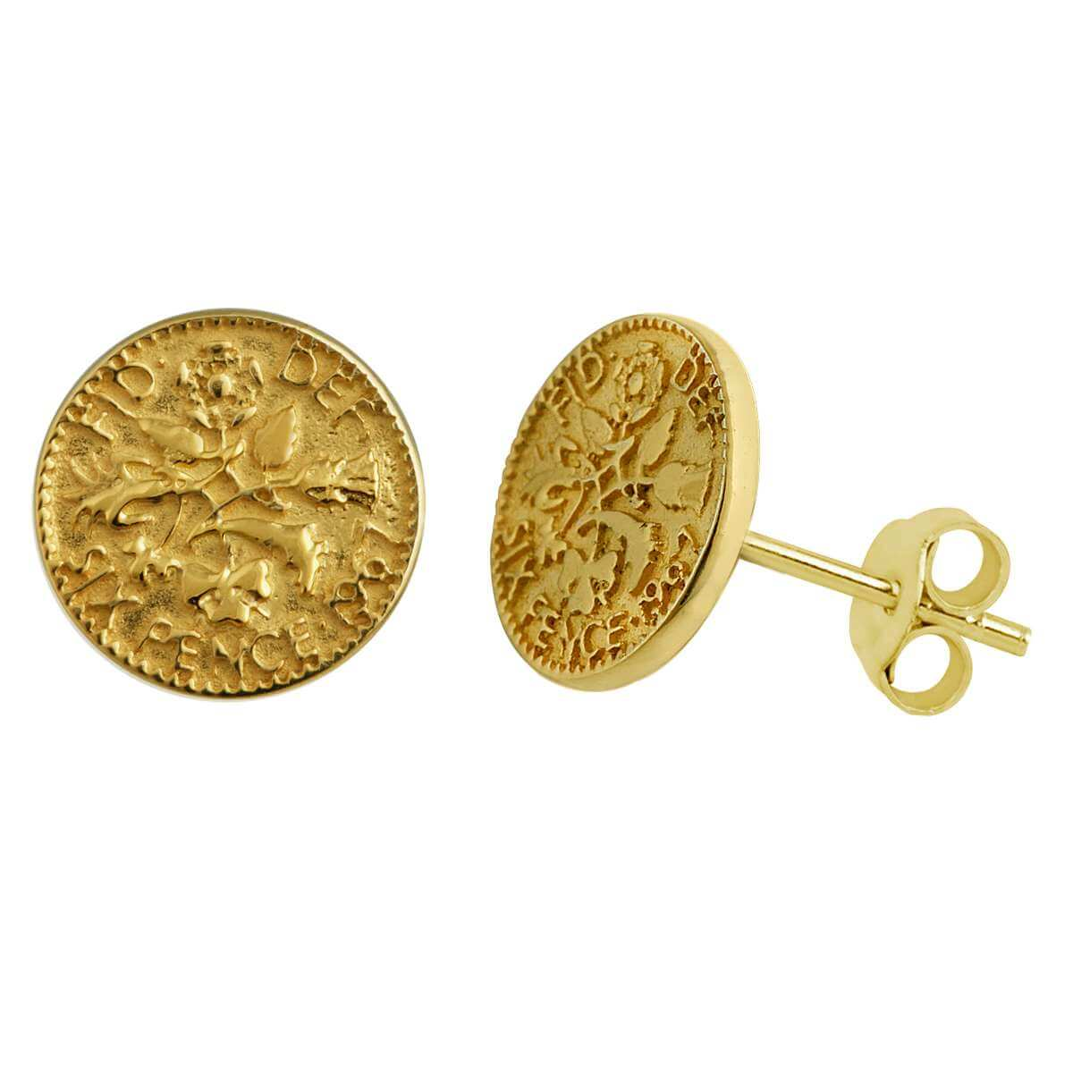 Yellow Gold Plated Sterling Silver Lucky Six Pence Stud Earrings
