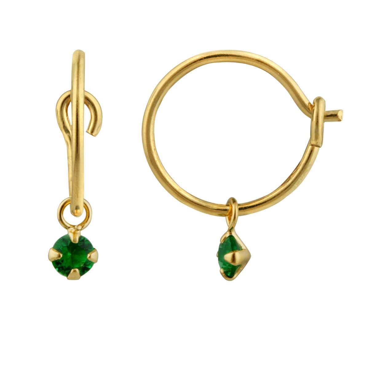 Yellow Gold Plated Sterling Silver & Emerald CZ 3mm Crystal Charm Hoop Earrings