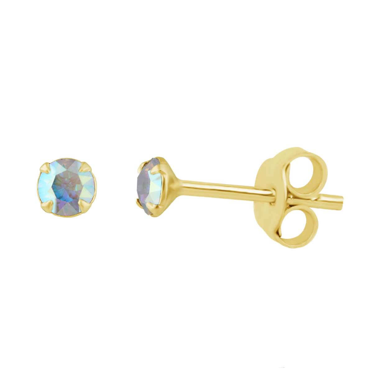 Gold Plated Sterling Silver Aurora Borealis 3mm CZ Crystal Claw Set Stud Earrings