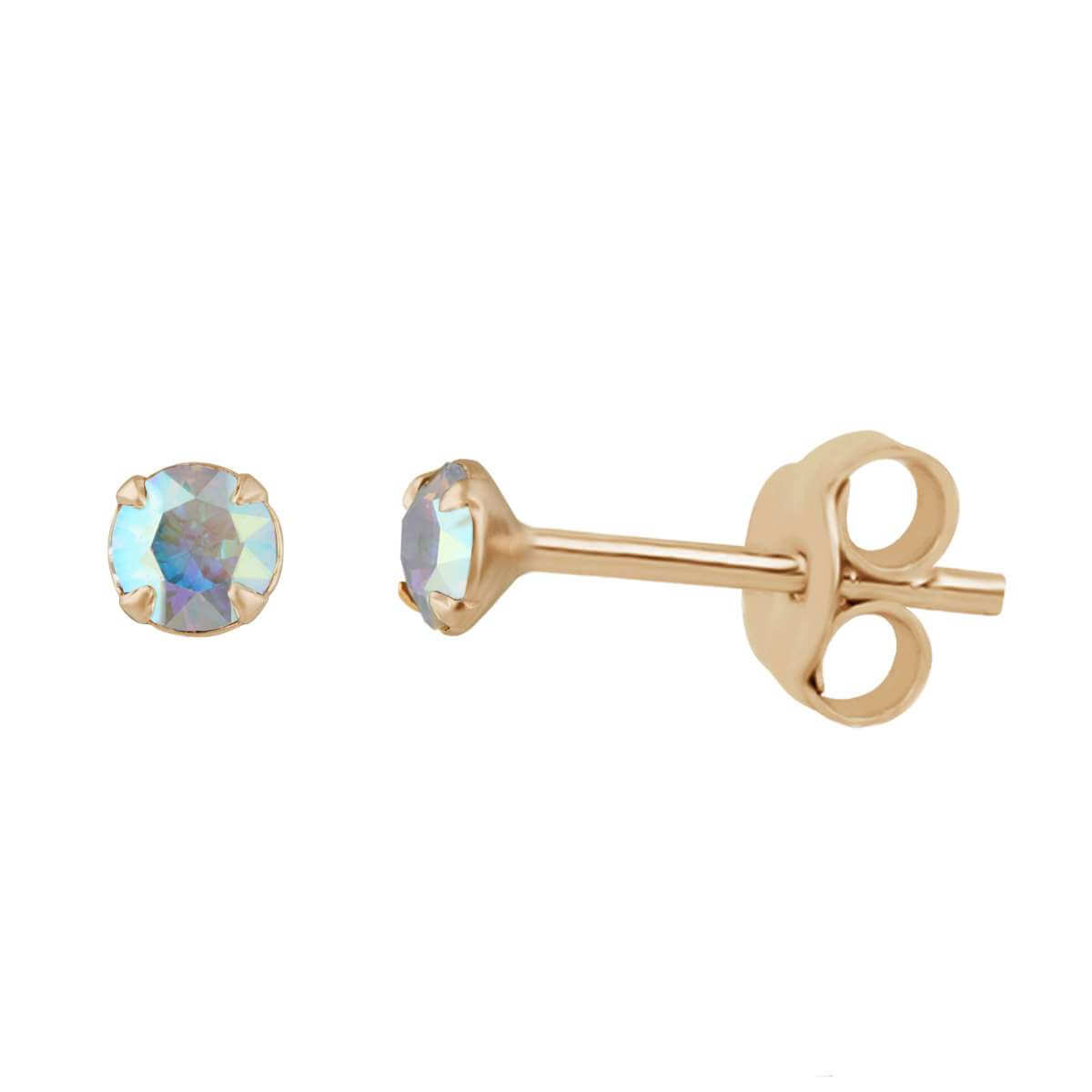 Rose Gold Plated Sterling Silver Aurora Borealis CZ Stud Earrings
