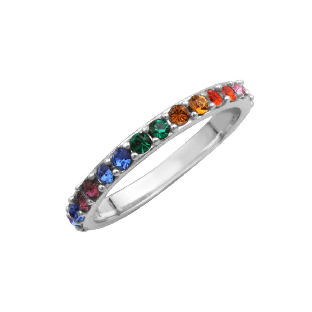 Sterling Silver & Rainbow CZ Crystal Eternity Ring - Size I-W