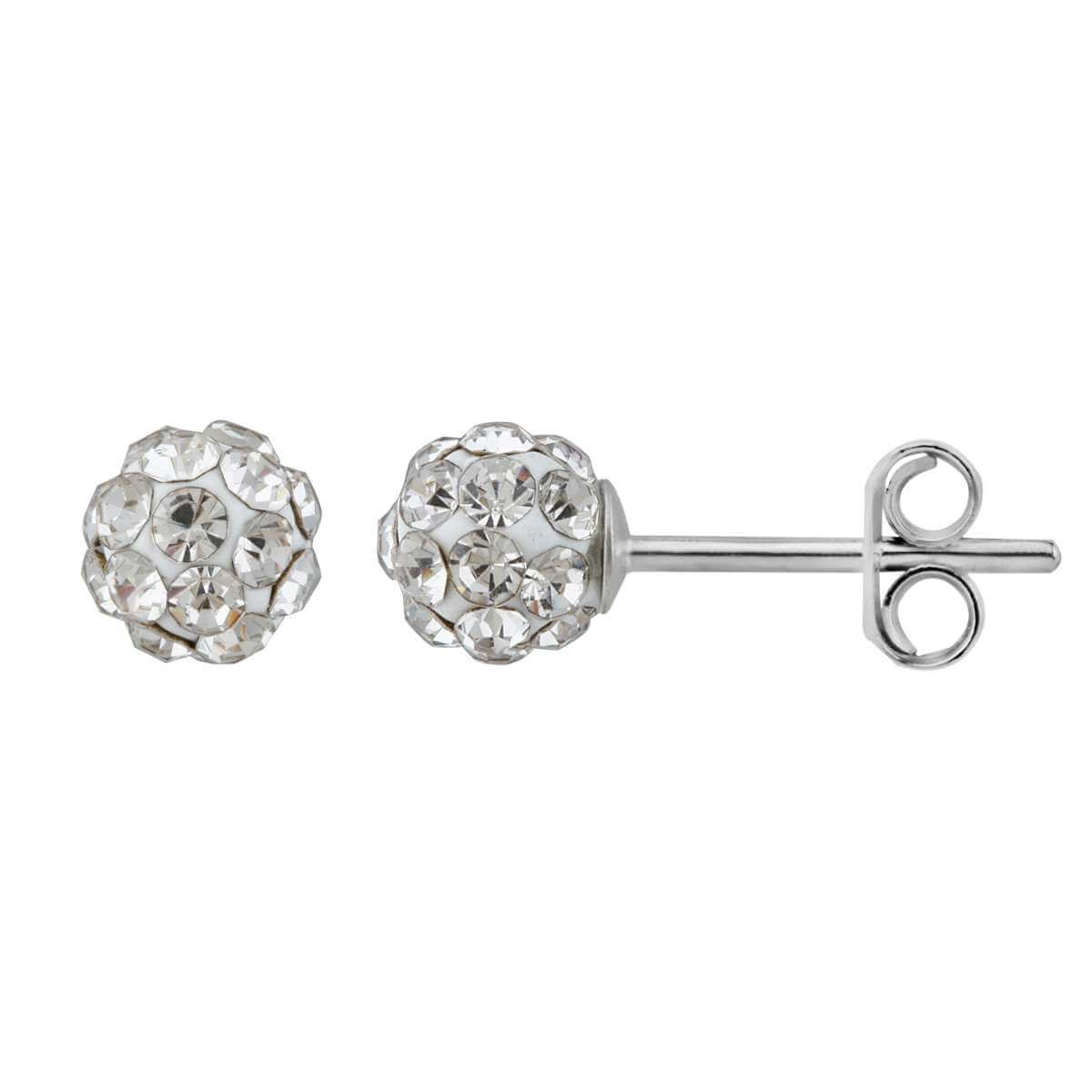 Sterling Silver & Clear CZ 5mm Crystal Ball Stud Earrings